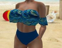 Blue Green Swirls Ruffled Bikini Bottom - Maitreya