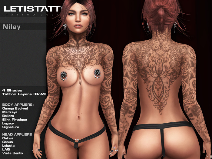 Letis Tattoo :: Nilay :: Tattoos Bakes On Mesh & Legacy Maitreya and more Appliers