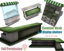 [ FULL PERM ] Counter Desk & 3 Display Shelves