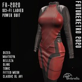 RED FUTURETRO 2020 SciFi Star Fleet Stylized Power Suit - Trek Cosplay Space Crew Dress Jacket Skirt
