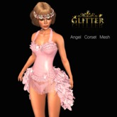GLITTER Angel Corset Mesh with Feathers Tail Pink