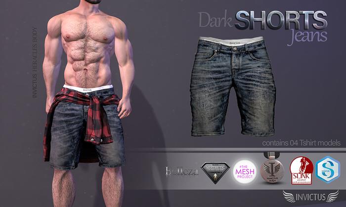 INVICTUS -Shorts jeans Dark