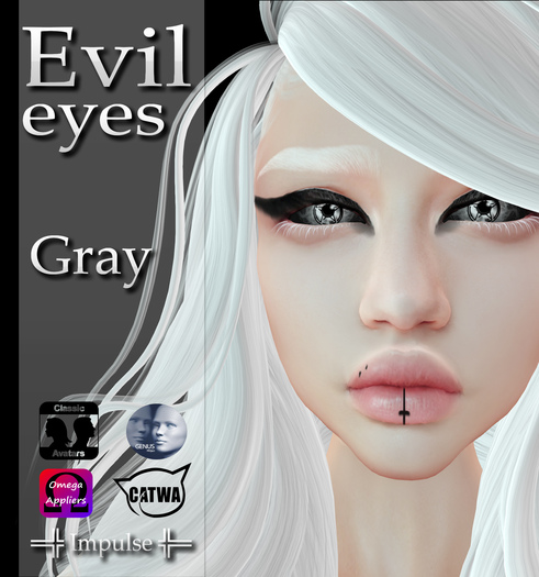=Impulse= Evil Eyes Gray (Catwa, Genus, Omega applier, Classic Avatar)