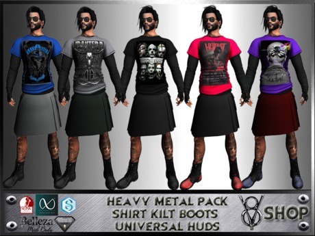 +DEMO+V8 SHOP+HEAVY METAL PACK+SHIRT KILT BOOTS UNIVERSAL HUDS+