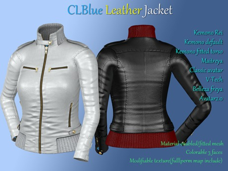 CLBlue-Leather Jacket