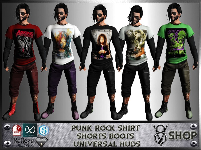 +DEMO+ V8 SHOP PUNK ROCK SHIRT SHORTS BOOTS UNIVERSAL HUDS+