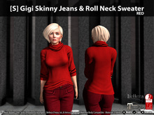 [S] Gigi Skinny Jeans & Roll Neck Sweater Red