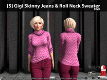 [S] Gigi Skinny Jeans & Roll Neck Sweater Pink