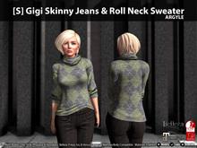 [S] Gigi Skinny Jeans & Roll Neck Sweater Argyle