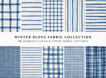 NEW ♥ Winter Blues Fabric Collection ♥ 16 Seamless Stripe & Check Fabric Textures