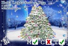 Multi lights snowy pine