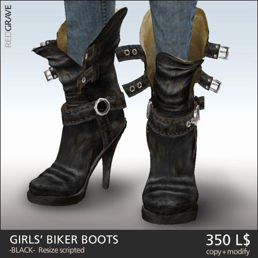REDGRAVE Girls' Biker Boots -Black