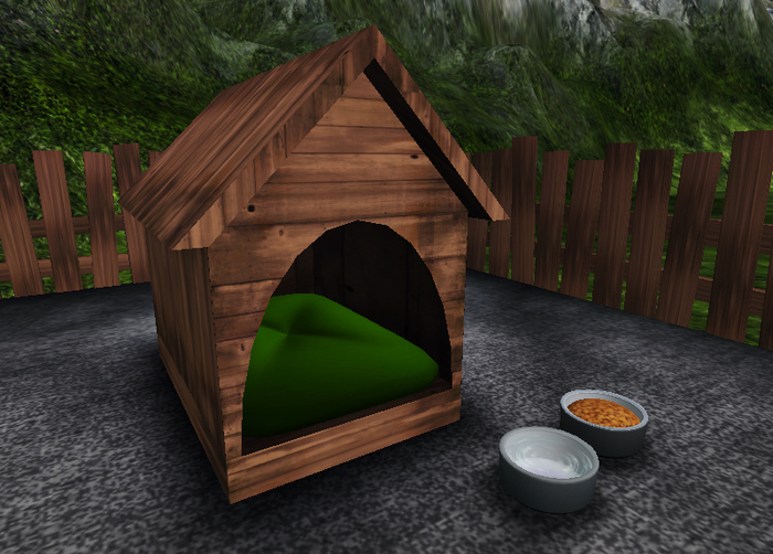 Wooden Doghouse/Furry Bed
