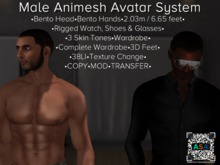 Male Animesh Bot for AVsitter / NPC - Bento Head & Hands!