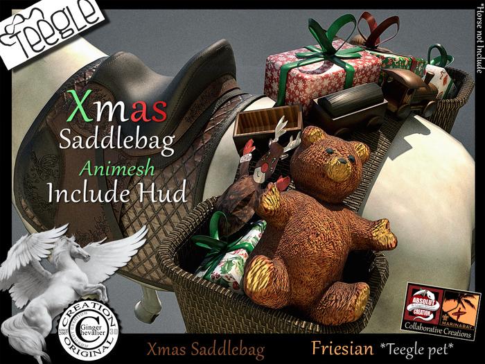 *.* Xmas SaddleBag Teegle Friesian