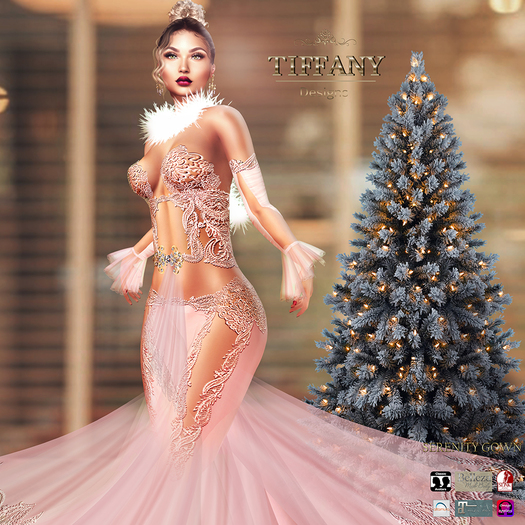 ::TD:: Serenity Gown with Appliers ~ Pink