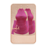Cynful Plush Turtleneck Dress - Hotpink