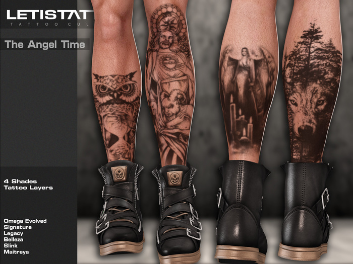 Letis Tattoo :: The Angel Time :: Legs Tattoos Bakes On Mesh & Legacy Signature and more Appliers