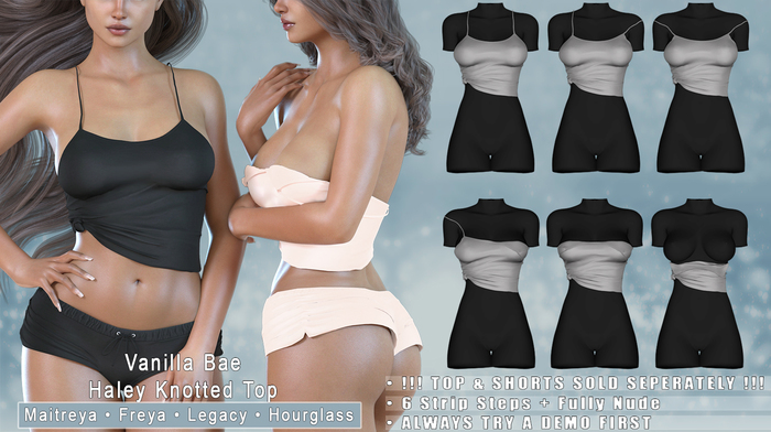 *Vanilla Bae* Hayley Knotted TOP - 21 Color Fat Pack - Strip Me Collection - Maitreya / Freya / Legacy / HG