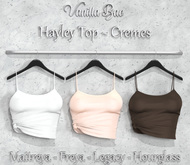 *Vanilla Bae* Hayley Knotted Top - Creme 3 Pack - Strip Me Collection - Maitreya / Freya / Legacy / HG
