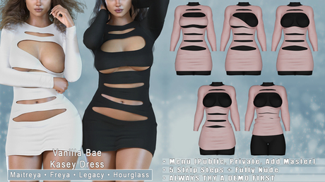*Vanilla Bae* Kasey Dress - 15 Color Fat Pack - Strip Me Collection - Maitreya / Freya / Legacy / HG