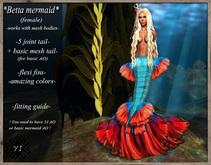 ..Yama's Ideas..Betta Mermaid tail Blue/Red