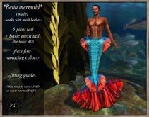 ..Yama's Ideas..Betta Merman tail Blue/Red