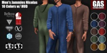 GAS [Men's Jammies Nicolas - 10 Colors w/HUD FATPACK]