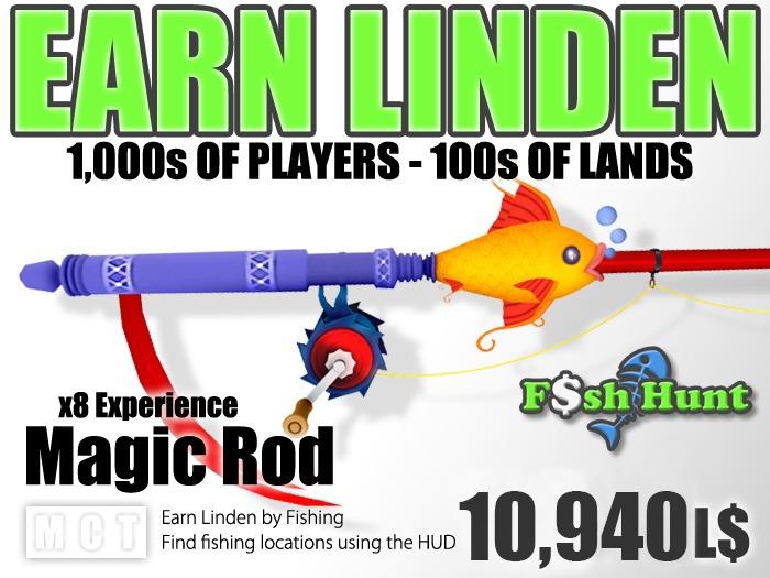 Fish Hunt - Magic Fishing Rod - Earn Linden hunting for fish