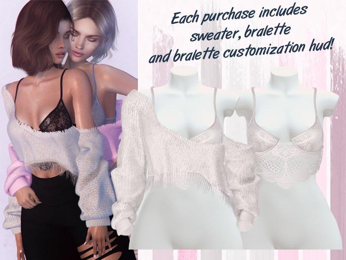 Lunar - Vivi Sweater & Bralette - White (Boxed)