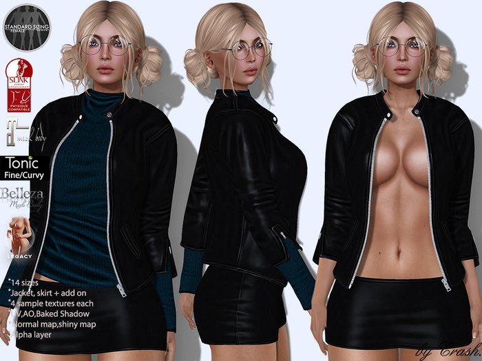 byCrash Full perm mesh-Leather jacket outfit.