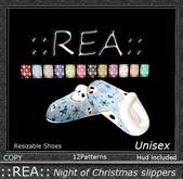 ::REA::Night of christmas Slippers Unisex
