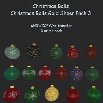 Christmas Balls Gold Sheer Pack 3