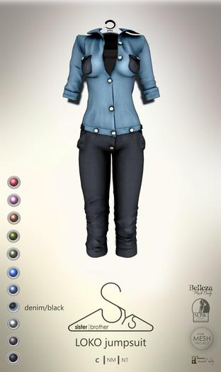 [sYs] LOKO jumpsuit (body mesh) - denim/black