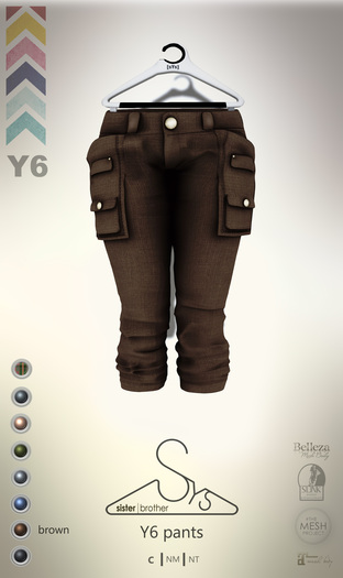 [sYs] Y6 pants (body mesh) - brown GIFT <3