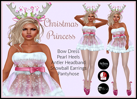 [DB] Christmas Princess Complete Dress Outfit - Maitreya, Belleza, Slink, Heels and Stockings, Jewelry, Snowflake Design
