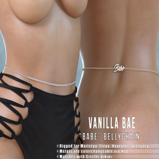 *Vanilla Bae* Babe Belly Chain - 7 Metal Colors Fat Pack - Maitreya, Freya, Legacy, Hourglass - Promo