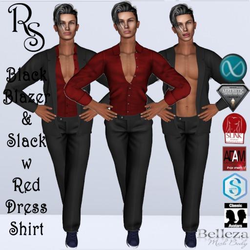 Black Blazer + Slack w/Red Dress Shirt