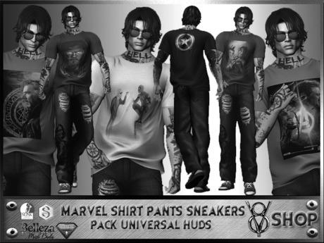+DEMO+V8 SHOP+ MARVEL SHIRT/PANTS/SNEAKERS UNIVERSAL HUDS