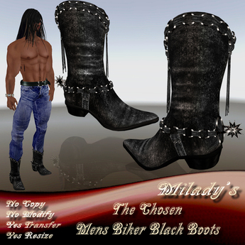 The chosen- Black Leather Biker Boots
