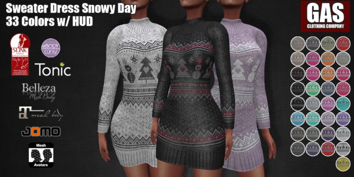 GAS [Sweater Dress Snowy Day - 33 Colors w/HUD FATPACK]
