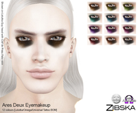 Zibska ~ Ares Deux Eyemakeup in 12 colors with Lelutka, Omega and Universal Tattoo BOM layers