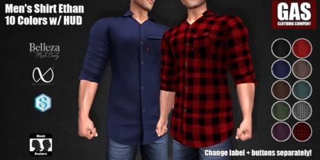 GAS [Men's Shirt Ethan - 10 Colors w/HUD FATPACK]