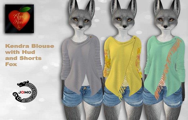 Apple Heart Inc. Jomo Kendra Blouse w. Hud + Shorts Fox