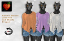 Apple Heart Inc. Jomo Kendra Blouse w. Hud + Shorts Dragon