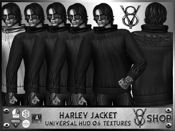 +DEMO+V8 SHOP+ HARLEY  JACKET UNIVERSAL HUD 6 TEXTURES