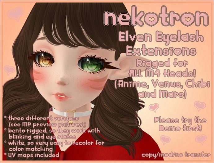 [Nekotron] Rigged Elven Eyelash Extension (ALL M4 HEADS)