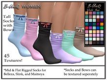 B-UniQ Womens - Tall Socks with Bows