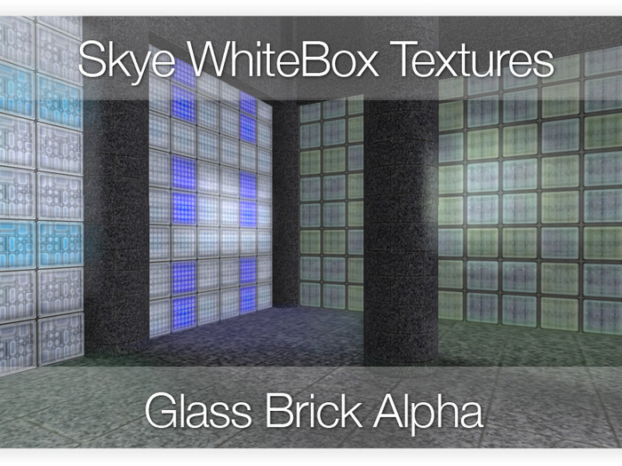 PROMO! SAVE L$400 80 Glass Brick - Skye WhiteBox Full Alpha Transparency -  Full Perms Textures