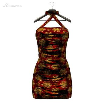 ** Harmonia Red Gold Anne Dress - Maitreya Slink Freya